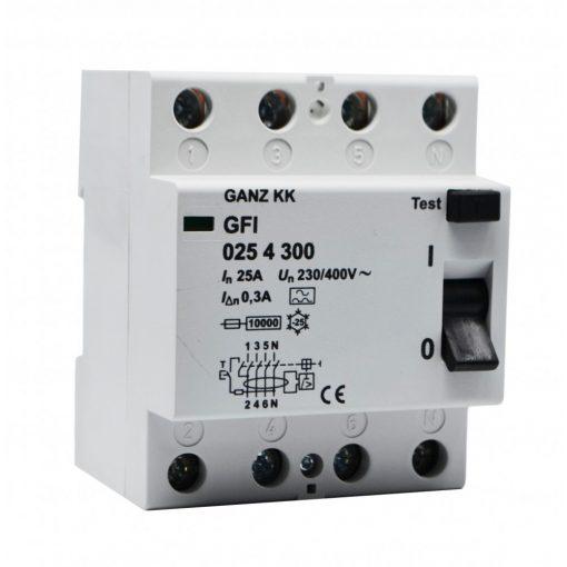 GFI áram-védőkapcsoló 25A 4pól 100mA