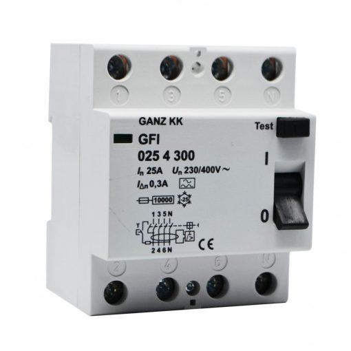 GFI áram-védőkapcsoló 25A 4pól 300mA