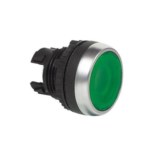 Nyomógomb világító visszaálló zöld